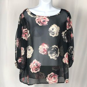 Lauren Conrad sheer floral blouse